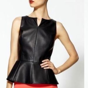 Tinley Road Vegan Leather Black Peplum Top